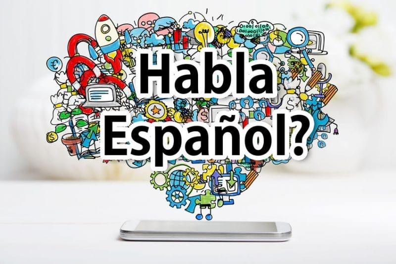 habla espanol concept with smartphone